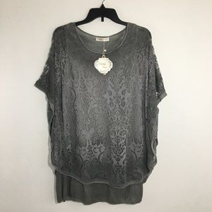 [NWT] Simply Couture Gray Ombré Lace Layered Top